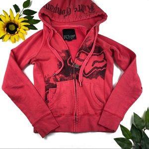 FOX Racing Red Hoodie Full Zip Up Hooded